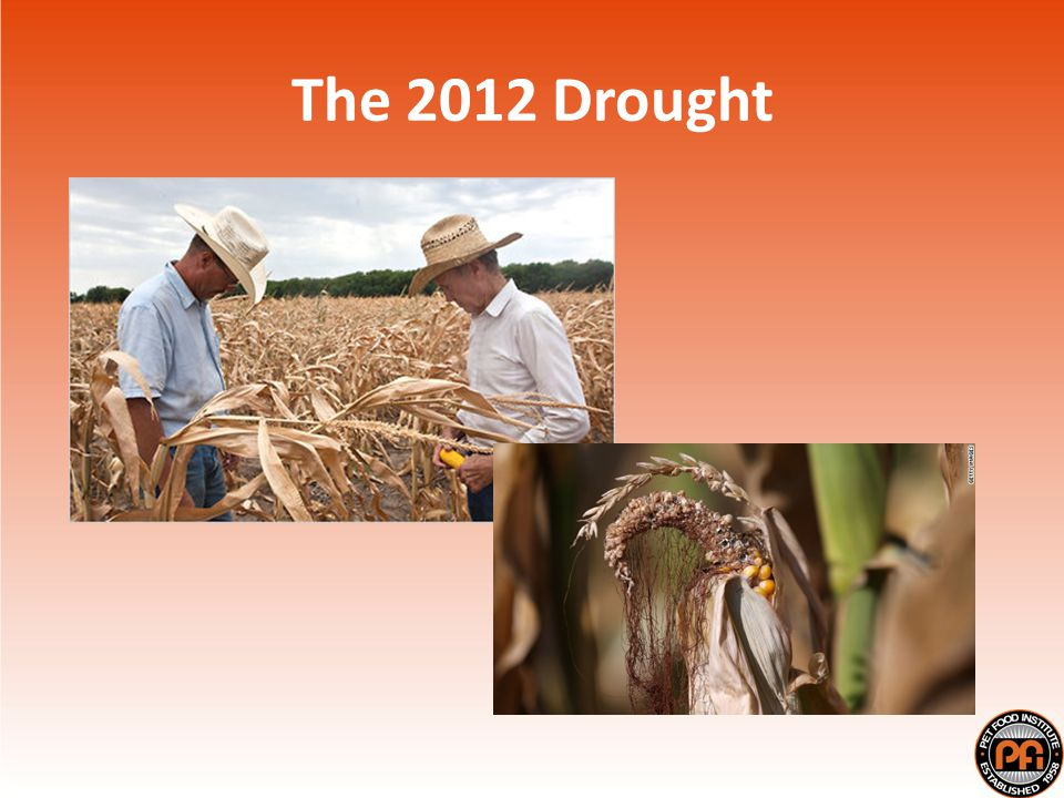 Worst US drought since 1950s Covered 80% of farmland Expected corn/soybean yields way down Corn (122 bu/acre, down from 166 bu/acre) Soybeans (37.8 bu/acre, down from 43.9 bu/acre) Ranchers liquidating herds Higher meat/dairy prices projected