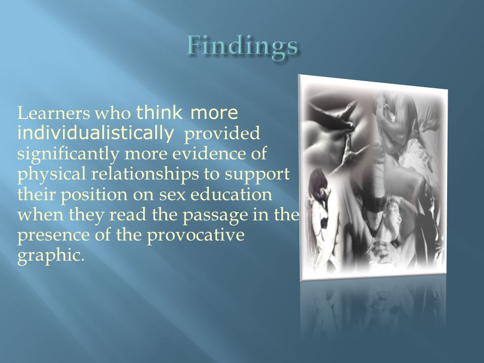 Learners who think more individualistically provided significantly more evidence of physical relationships to support their position on sex education when they read the passage in the presence of the provocative graphic.