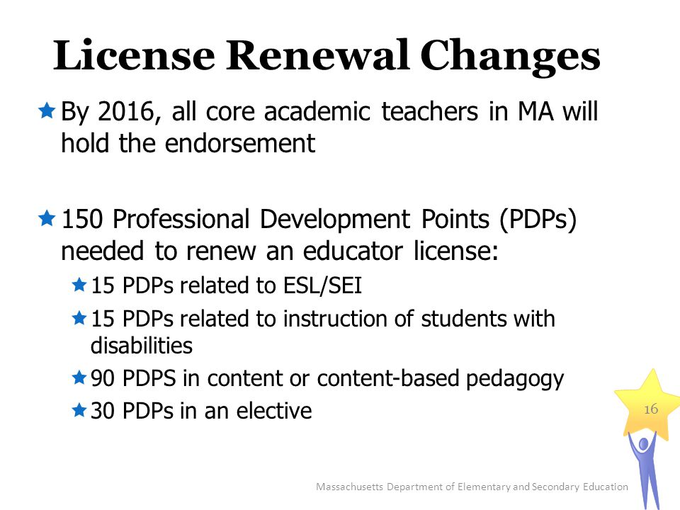 License Renewal Changes  By 2016, all core academic teachers in MA will hold the endorsement  150 Professional Development Points (PDPs) needed to renew an educator license:  15 PDPs related to ESL/SEI  15 PDPs related to instruction of students with disabilities  90 PDPS in content or content-based pedagogy  30 PDPs in an elective Massachusetts Department of Elementary and Secondary Education 16
