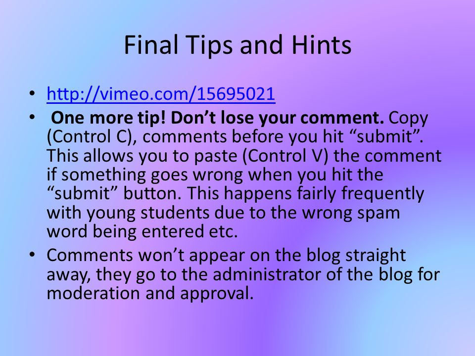 Final Tips and Hints http://vimeo.com/15695021 One more tip.