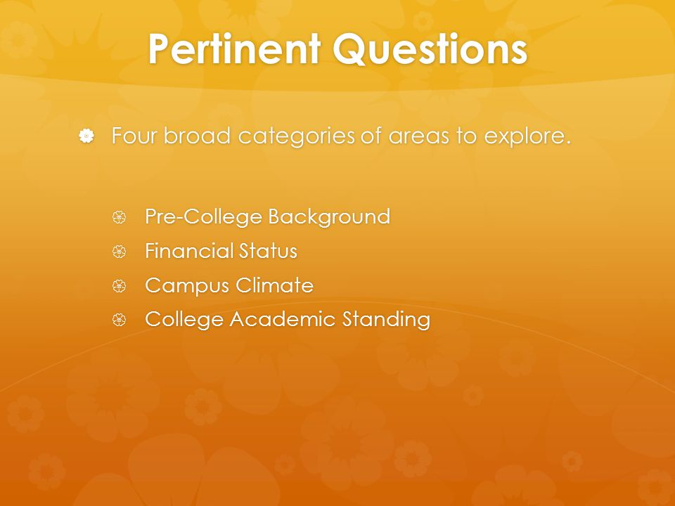 Pertinent Questions  Four broad categories of areas to explore.