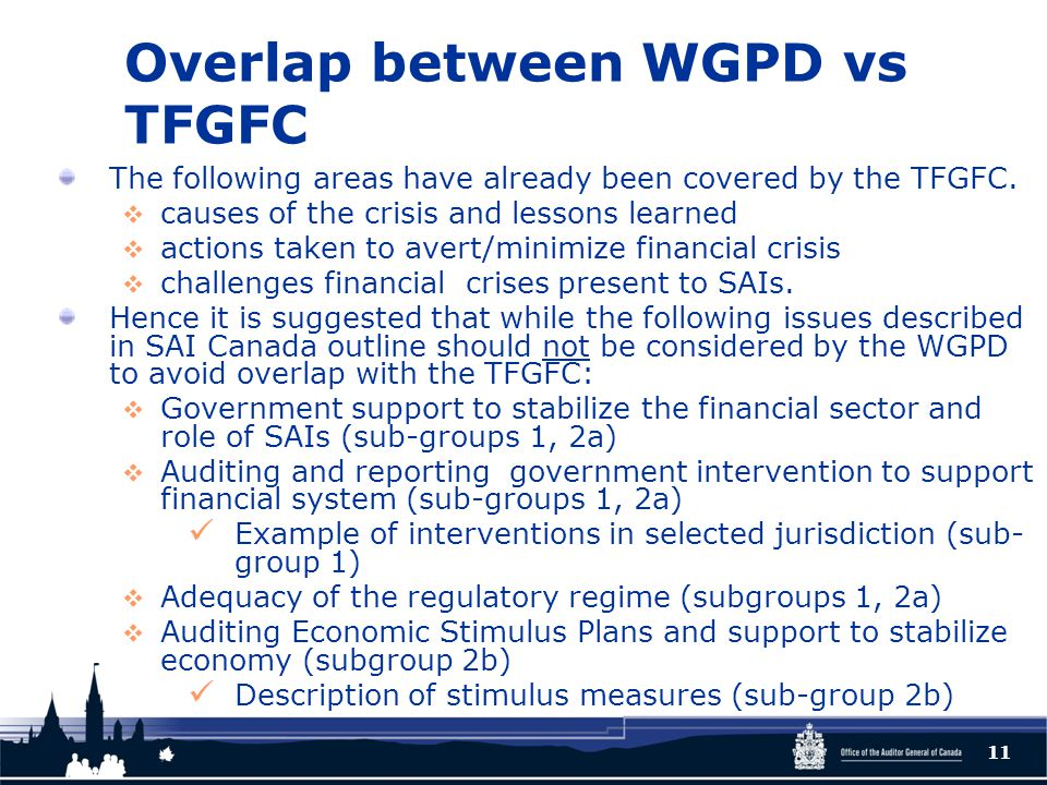 Overlap between WGPD vs TFGFC The following areas have already been covered by the TFGFC.