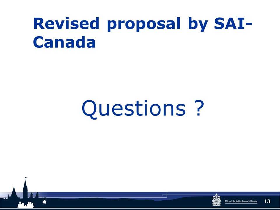 Revised proposal by SAI- Canada Questions ? 13