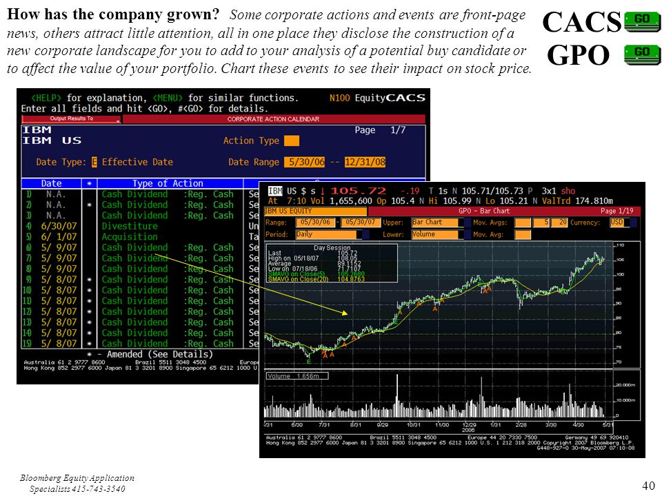 Bloomberg Equity Application Specialists 415-743-3540 40 CACS GPO How has the company grown.