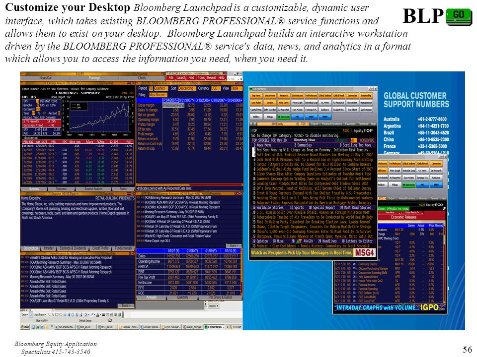 Bloomberg Equity Application Specialists 415-743-3540 56 Customize your Desktop Bloomberg Launchpad is a customizable, dynamic user interface, which takes existing BLOOMBERG PROFESSIONAL® service functions and allows them to exist on your desktop.
