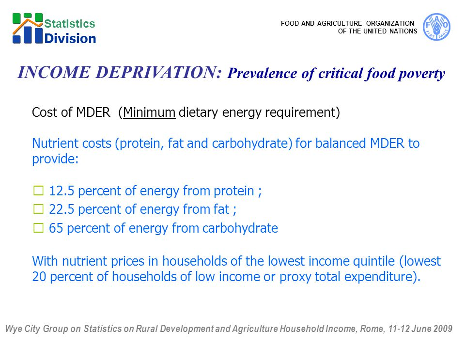 Wye City Group on Statistics on Rural Development and Agriculture Household Income, Rome, June 2009 FOOD AND AGRICULTURE ORGANIZATION OF THE UNITED NATIONS Statistics Division Cost of MDER (Minimum dietary energy requirement) Nutrient costs (protein, fat and carbohydrate) for balanced MDER to provide:  12.5 percent of energy from protein ;  22.5 percent of energy from fat ;  65 percent of energy from carbohydrate With nutrient prices in households of the lowest income quintile (lowest 20 percent of households of low income or proxy total expenditure).
