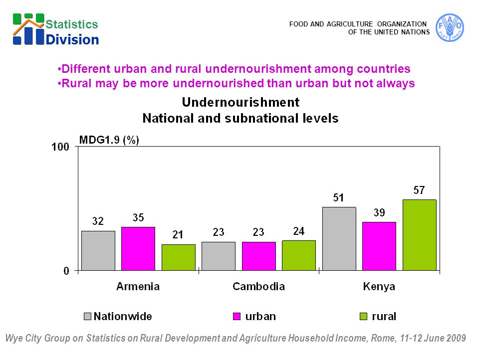 Wye City Group on Statistics on Rural Development and Agriculture Household Income, Rome, June 2009 FOOD AND AGRICULTURE ORGANIZATION OF THE UNITED NATIONS Statistics Division Different urban and rural undernourishment among countries Rural may be more undernourished than urban but not always