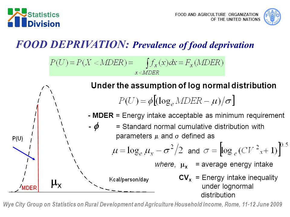 Wye City Group on Statistics on Rural Development and Agriculture Household Income, Rome, 11-12 June 2009 FOOD AND AGRICULTURE ORGANIZATION OF THE UNITED NATIONS Statistics Division FOOD DEPRIVATION: Prevalence of food deprivation Under the assumption of log normal distribution - MDER = Energy intake acceptable as minimum requirement -  = Standard normal cumulative distribution with parameters  and  defined as and where,  x = average energy intake CV x = Energy intake inequality under lognormal distribution