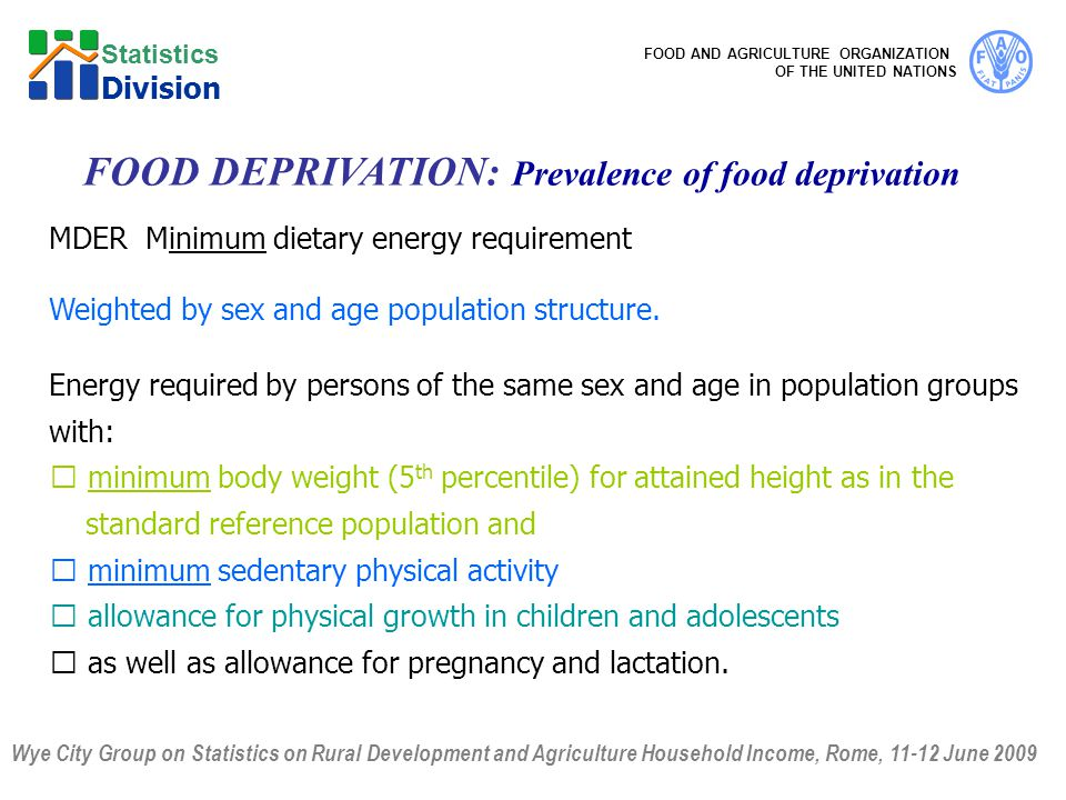 Wye City Group on Statistics on Rural Development and Agriculture Household Income, Rome, 11-12 June 2009 FOOD AND AGRICULTURE ORGANIZATION OF THE UNITED NATIONS Statistics Division MDER Minimum dietary energy requirement Weighted by sex and age population structure.