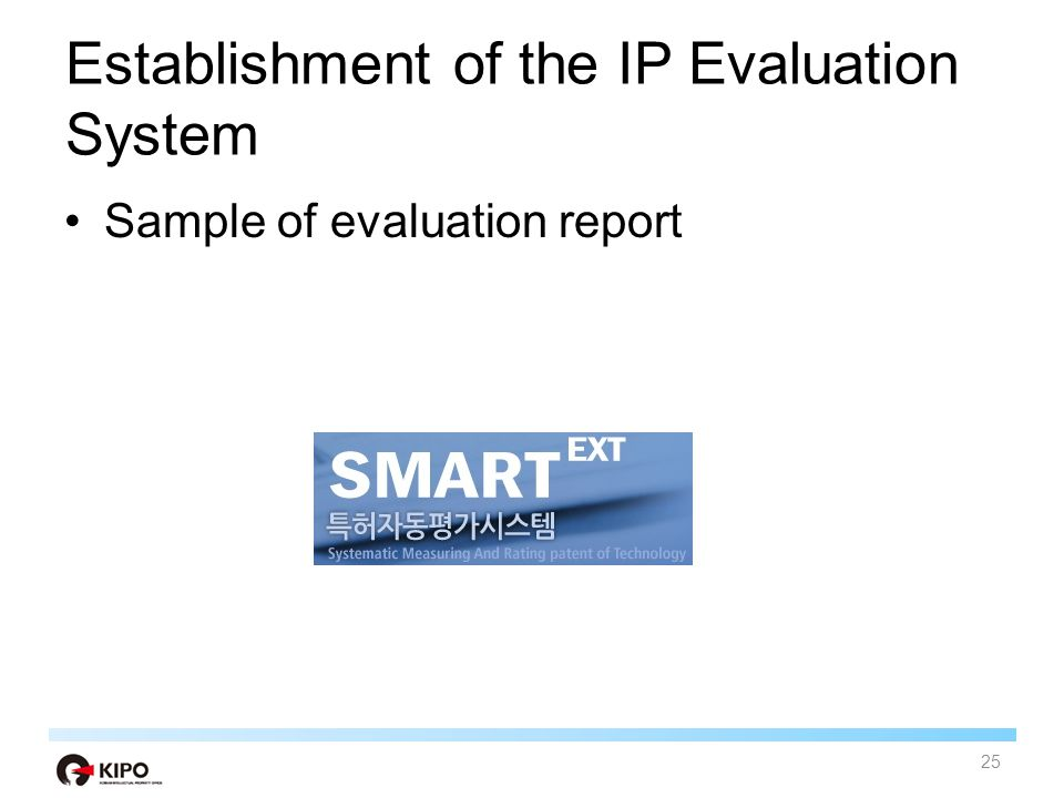 Establishment of the IP Evaluation System Sample of evaluation report 25