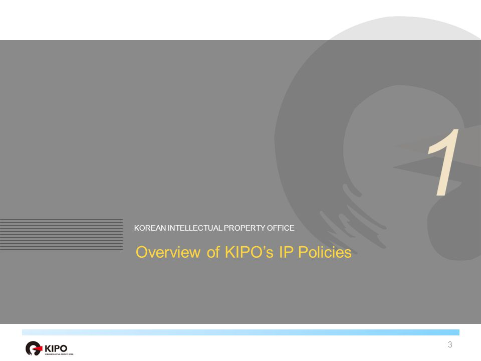 Introduction of KIPO Management of patents, utility models, trademarks, and designs Affairs of Patent Examination & Trial, Creation, Use and Protection of IPRs Staff of about 1,500 4