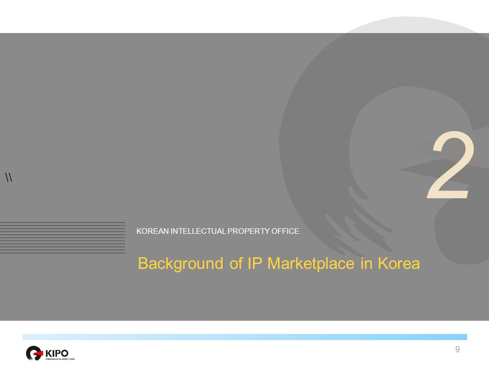 \\ KOREAN INTELLECTUAL PROPERTY OFFICE Background of IP Marketplace in Korea 2 9