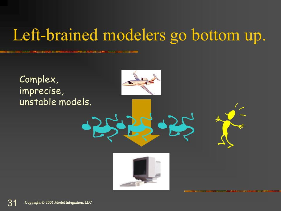 Copyright © 2001 Model Integration, LLC 31 Left-brained modelers go bottom up.
