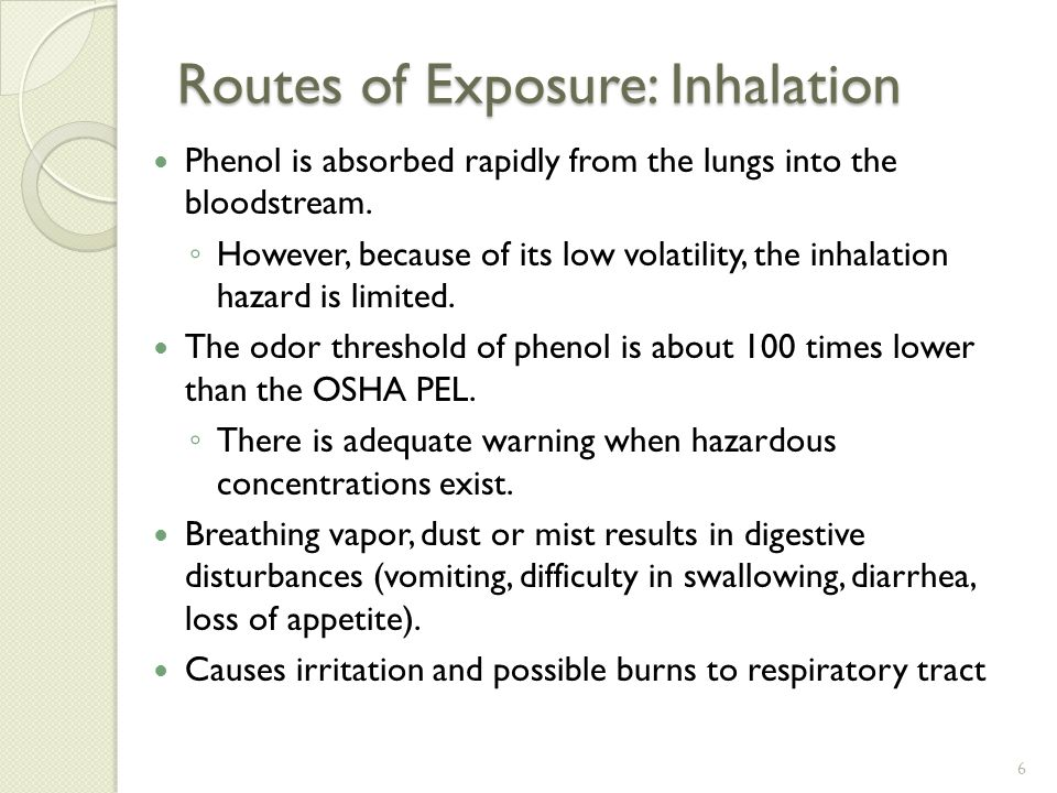 Routes of Exposure: Inhalation Phenol is absorbed rapidly from the lungs into the bloodstream.