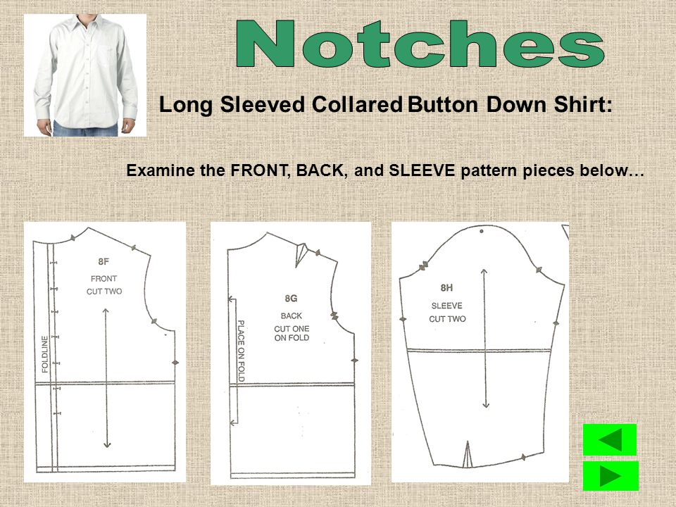 Notches are found on various pattern pieces.