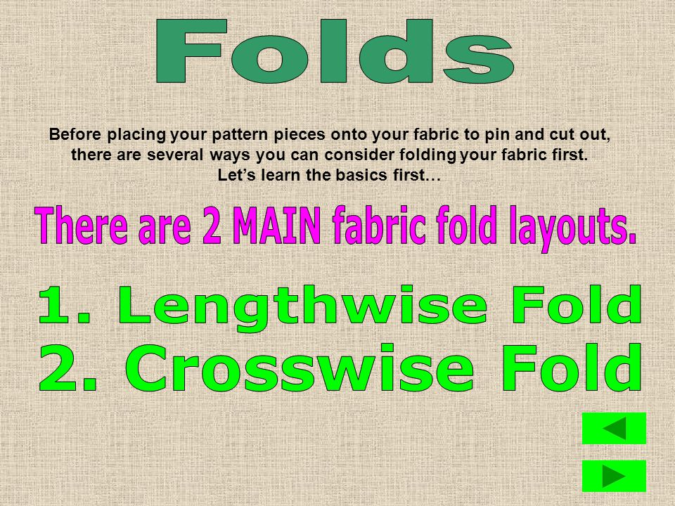 At the store, most fabric comes off a bolt on the ____________ fold.