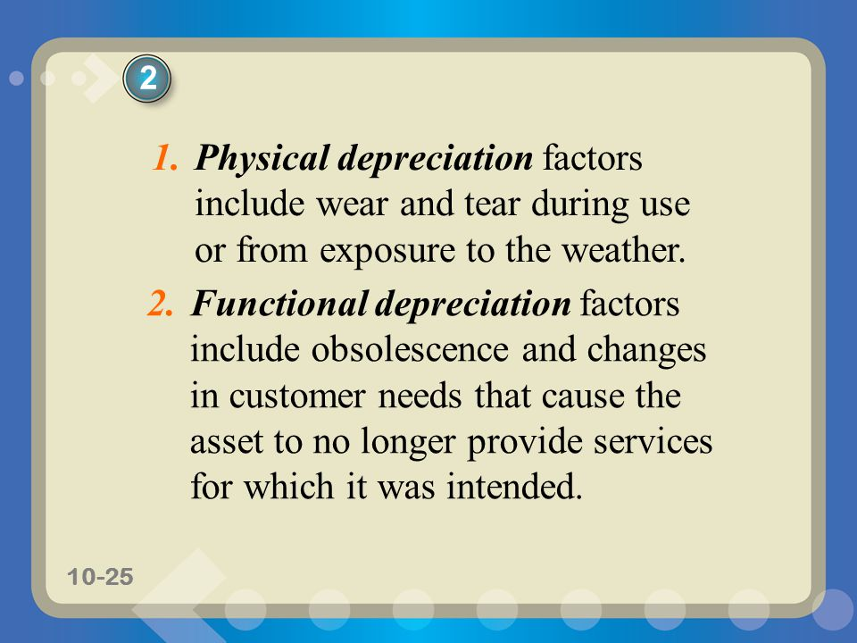 10-25 1.Physical depreciation factors include wear and tear during use or from exposure to the weather. 2.Functional depreciation factors include obso