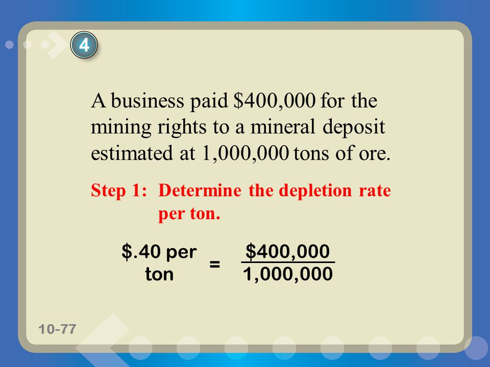 10-77 $400,000 1,000,000 $.40 per ton = 4 A business paid $400,000 for the mining rights to a mineral deposit estimated at 1,000,000 tons of ore. Step