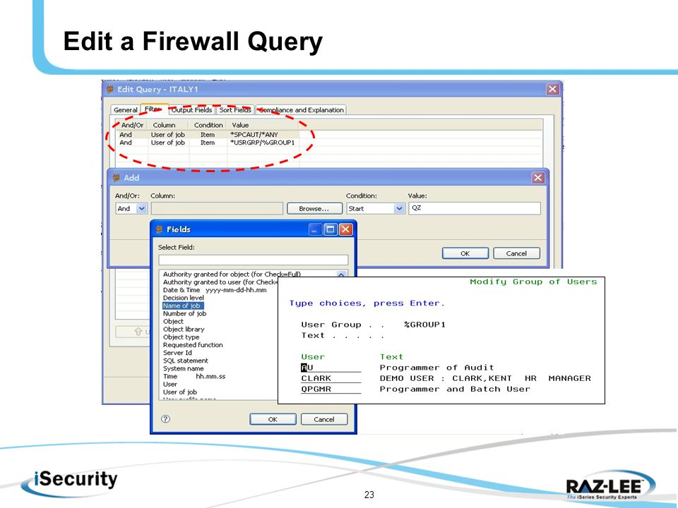 23 Edit a Firewall Query