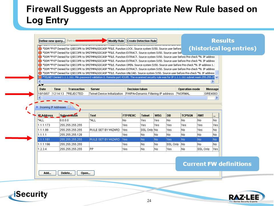 24 Results (historical log entries) Current FW definitions Firewall Suggests an Appropriate New Rule based on Log Entry