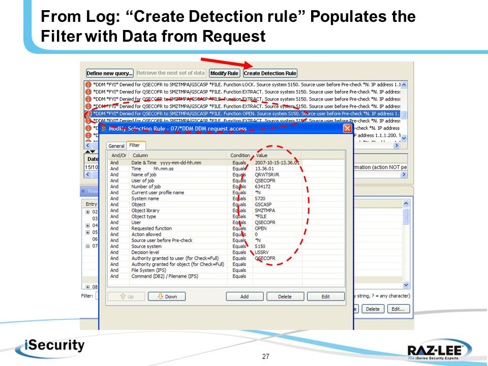 27 From Log: Create Detection rule Populates the Filter with Data from Request
