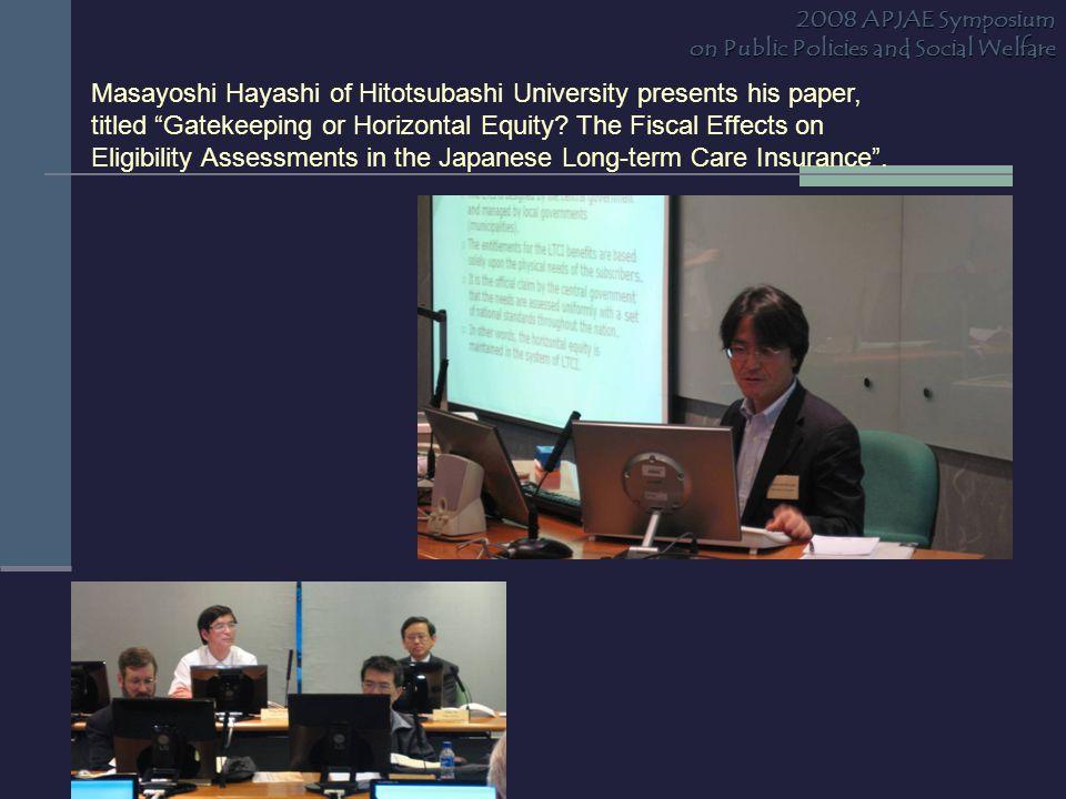 Masayoshi Hayashi of Hitotsubashi University presents his paper, titled Gatekeeping or Horizontal Equity.