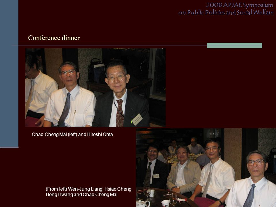 Conference dinner 2008 APJAE Symposium on Public Policies and Social Welfare Chao-Cheng Mai (left) and Hiroshi Ohta (From left) Wen-Jung Liang, Hsiao