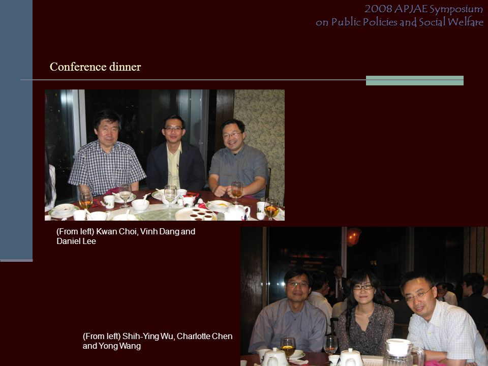 Conference dinner 2008 APJAE Symposium on Public Policies and Social Welfare (From left) Shih-Ying Wu, Charlotte Chen and Yong Wang (From left) Kwan C