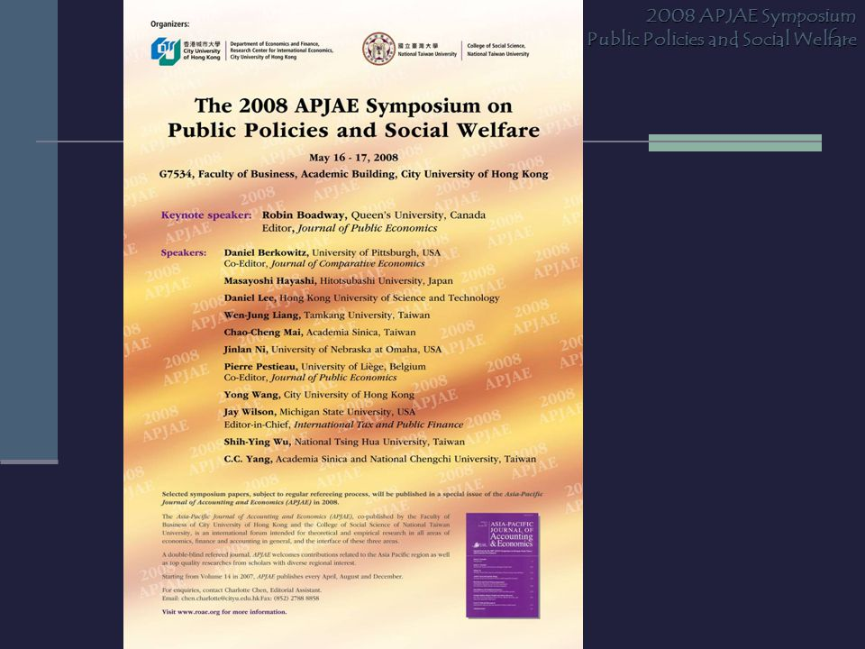 2008 APJAE Symposium on Public Policies and Social Welfare