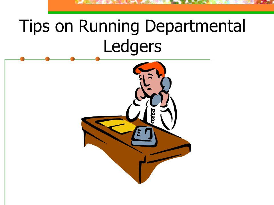 Tips on Running Departmental Ledgers for Expense Funds Please enter ZDEPT_LEDGER onto the command line.