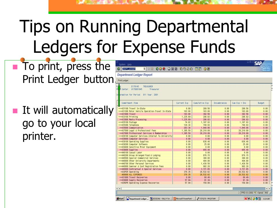 To print, press the Print Ledger button. It will automatically go to your local printer.