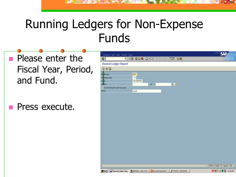 Running Ledgers for Non-Expense Funds To print, press the Print Ledger button.