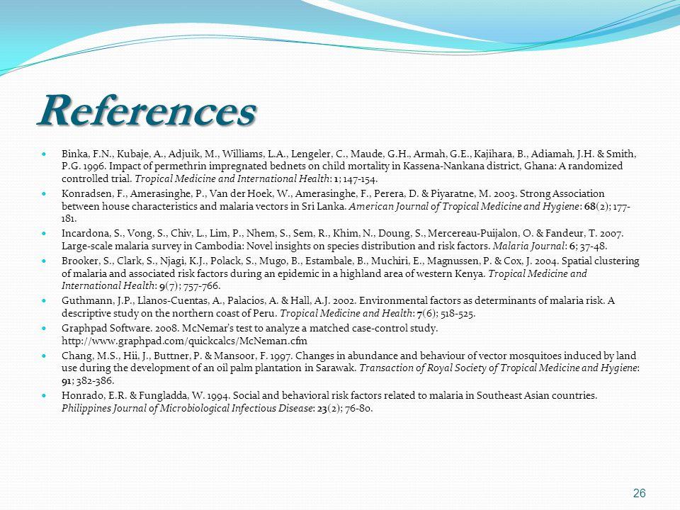 References Binka, F.N., Kubaje, A., Adjuik, M., Williams, L.A., Lengeler, C., Maude, G.H., Armah, G.E., Kajihara, B., Adiamah, J.H.