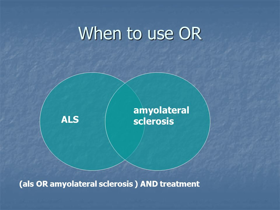 When to use OR ALS amyolateral sclerosis (als OR amyolateral sclerosis ) AND treatment