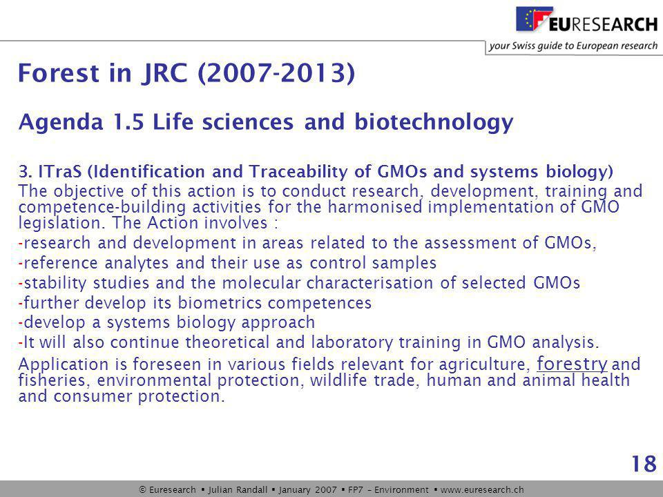 © Euresearch  Julian Randall  January 2007  FP7 – Environment  www.euresearch.ch 18 Agenda 1.5 Life sciences and biotechnology 3.