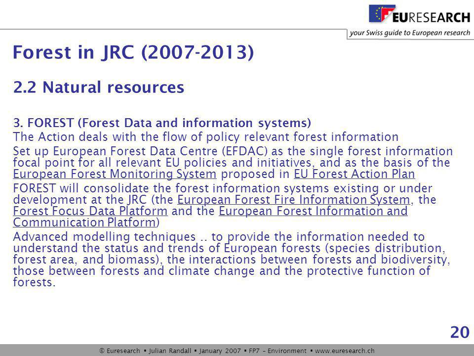 © Euresearch  Julian Randall  January 2007  FP7 – Environment  www.euresearch.ch 20 2.2 Natural resources 3.