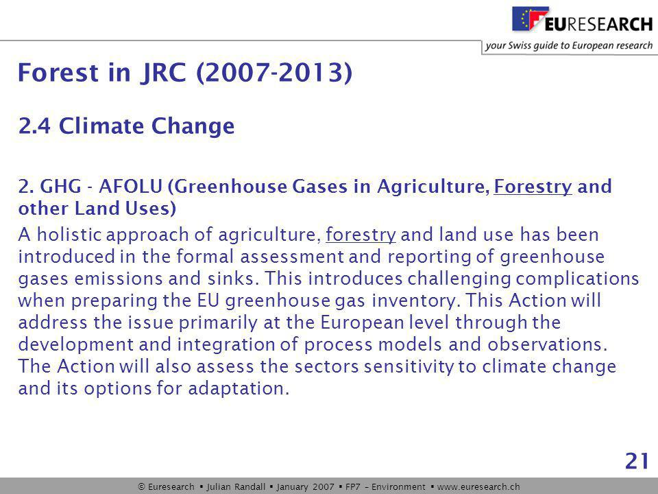 © Euresearch  Julian Randall  January 2007  FP7 – Environment  www.euresearch.ch 21 2.4 Climate Change 2.