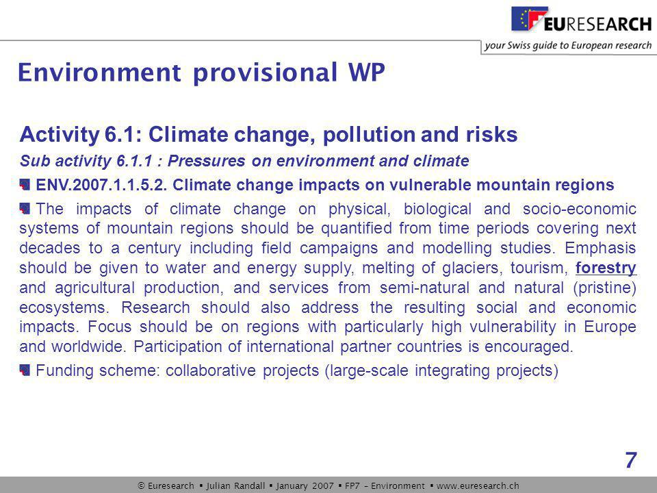 © Euresearch  Julian Randall  January 2007  FP7 – Environment  www.euresearch.ch 7 Activity 6.1: Climate change, pollution and risks Sub activity 6.1.1 : Pressures on environment and climate ENV.2007.1.1.5.2.