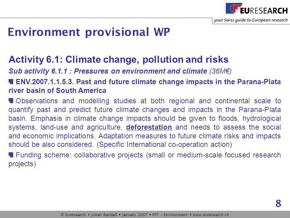 © Euresearch  Julian Randall  January 2007  FP7 – Environment  www.euresearch.ch 8 Activity 6.1: Climate change, pollution and risks Sub activity 6.1.1 : Pressures on environment and climate (36M€) ENV.2007.1.1.5.3.