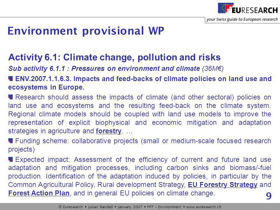© Euresearch  Julian Randall  January 2007  FP7 – Environment  www.euresearch.ch 9 Activity 6.1: Climate change, pollution and risks Sub activity 6.1.1 : Pressures on environment and climate (36M€) ENV.2007.1.1.6.3.