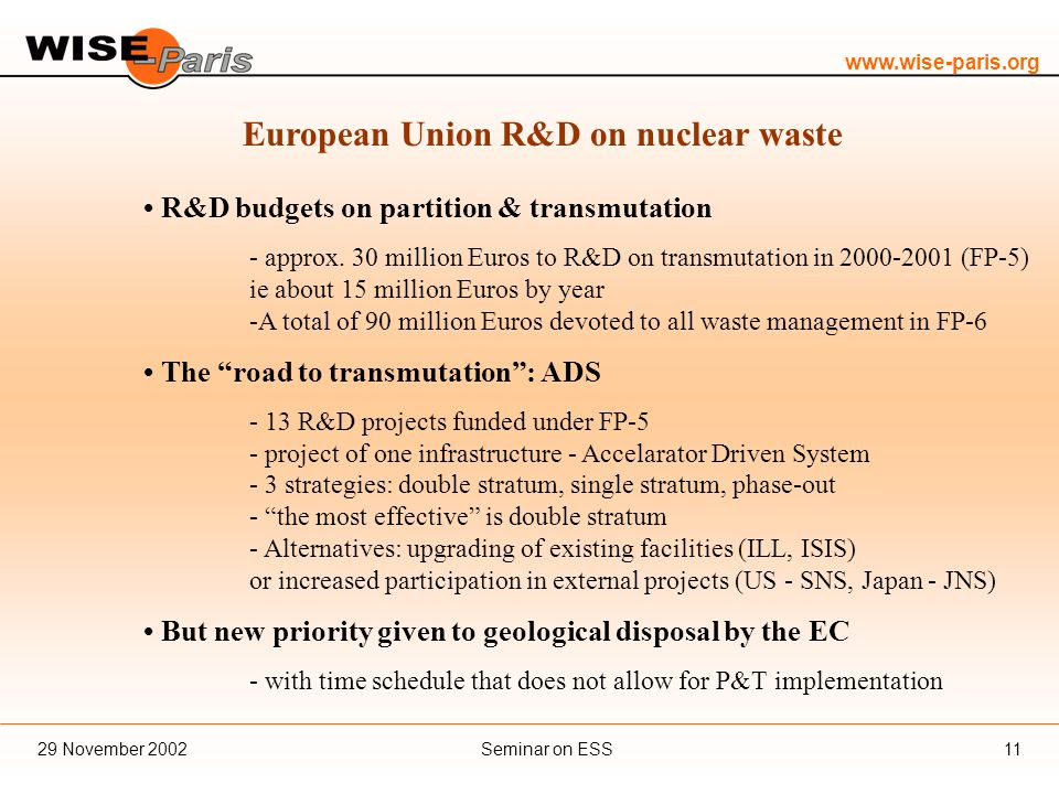 www.wise-paris.org Seminar on ESS29 November 200211 European Union R&D on nuclear waste R&D budgets on partition & transmutation - approx.