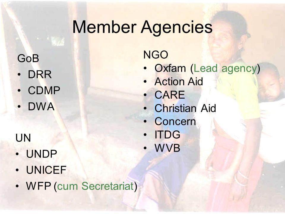 Member Agencies GoB DRR CDMP DWA UN UNDP UNICEF WFP (cum Secretariat) NGO Oxfam (Lead agency) Action Aid CARE Christian Aid Concern ITDG WVB