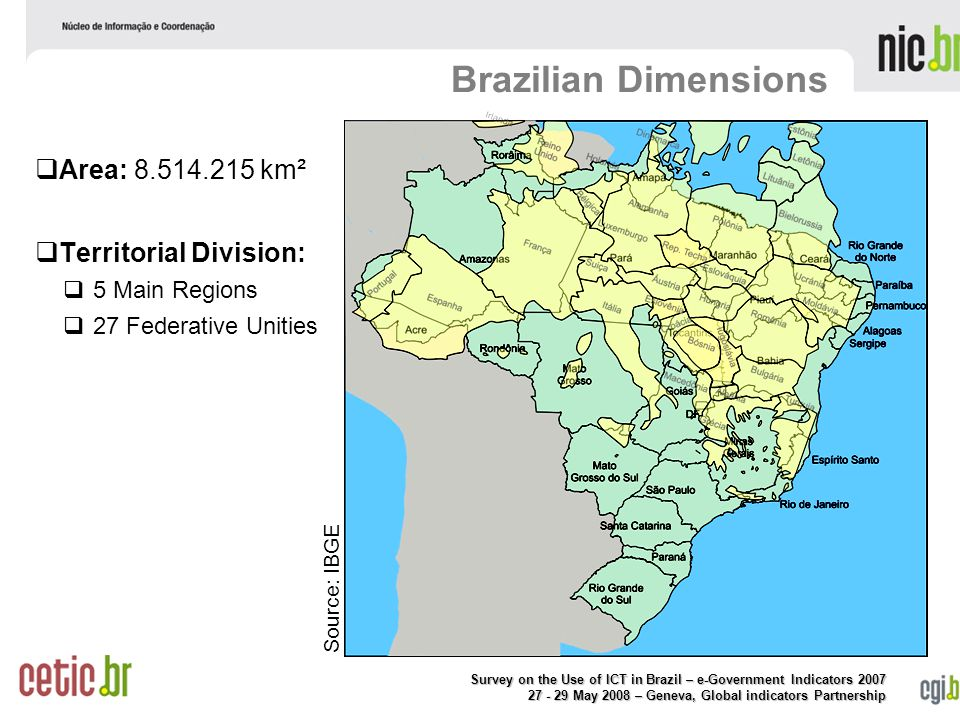 Survey on the Use of ICT in Brazil – e-Government Indicators May 2008 – Geneva, Global indicators Partnership Brazilian Dimensions   Area: km²   Territorial Division:   5 Main Regions   27 Federative Unities Source: IBGE
