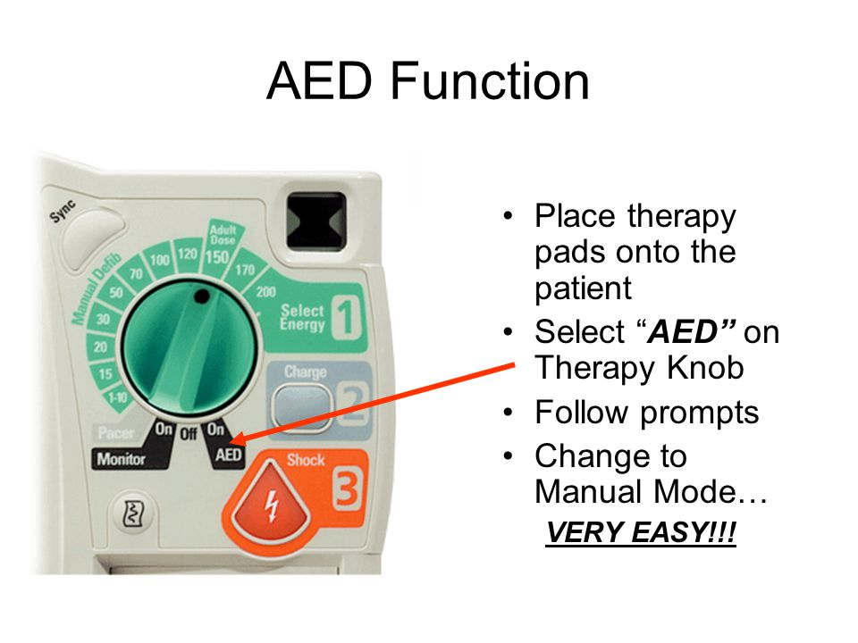 "AED Function Place therapy pads onto the patient Select ""AED"" on Therapy Knob Follow prompts Change to Manual Mode… VERY EASY!!!"