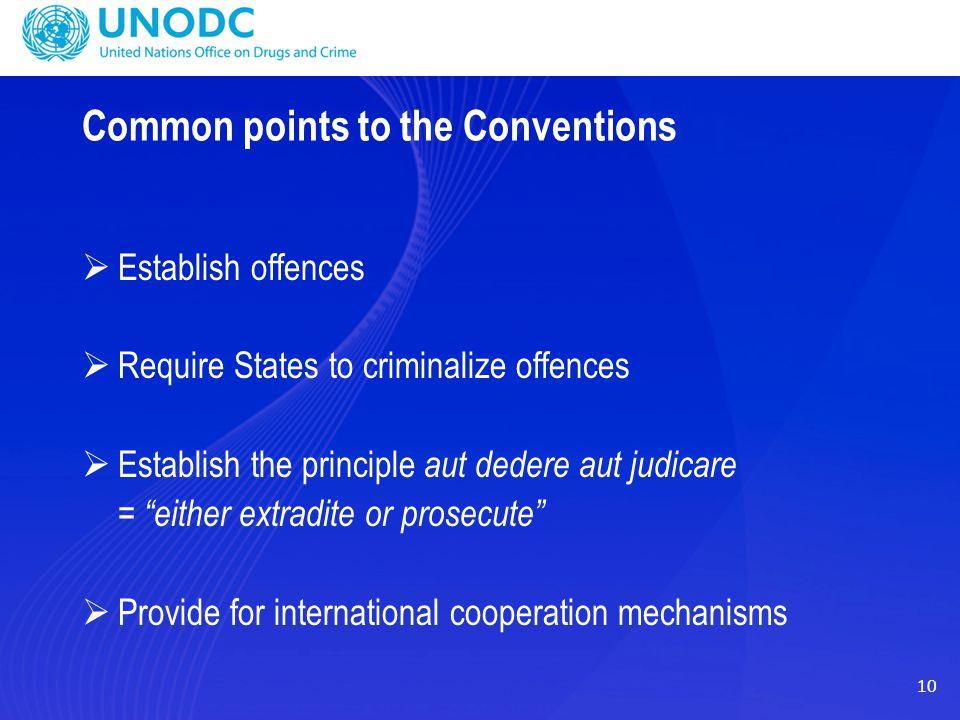 10 Common points to the Conventions  Establish offences  Require States to criminalize offences  Establish the principle aut dedere aut judicare =