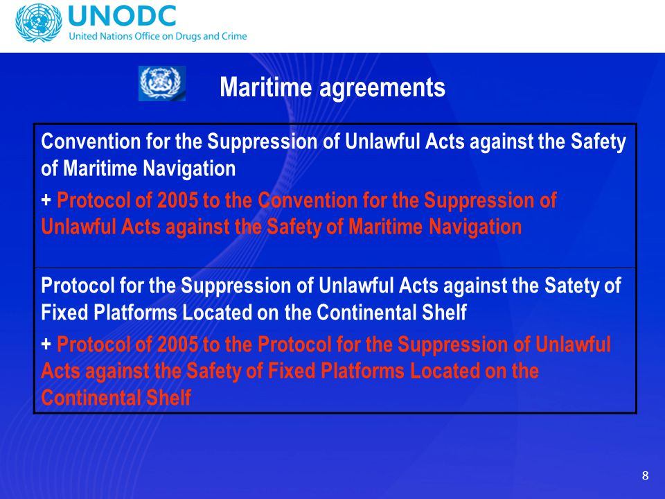 8 Maritime agreements Convention for the Suppression of Unlawful Acts against the Safety of Maritime Navigation + Protocol of 2005 to the Convention f