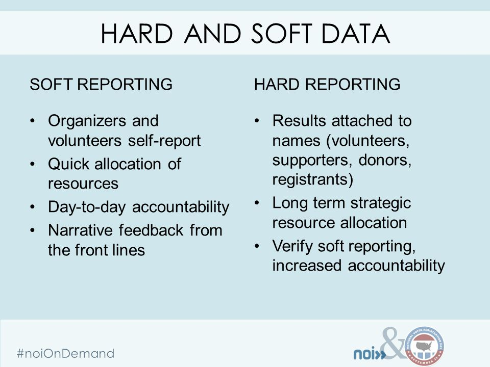 & #noiOnDemand SOFT REPORTING Organizers and volunteers self-report Quick allocation of resources Day-to-day accountability Narrative feedback from the front lines HARD REPORTING Results attached to names (volunteers, supporters, donors, registrants) Long term strategic resource allocation Verify soft reporting, increased accountability HARD AND SOFT DATA