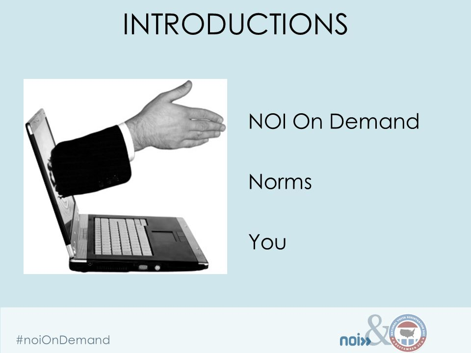 & #noiOnDemand Easy process- talk to Carmela Isabella 1)Fill out client information form 2)Fill out data intake form for each batch when ready Carmela Isabella 202-281-8127 carmela@issidata.org SIGNING UP