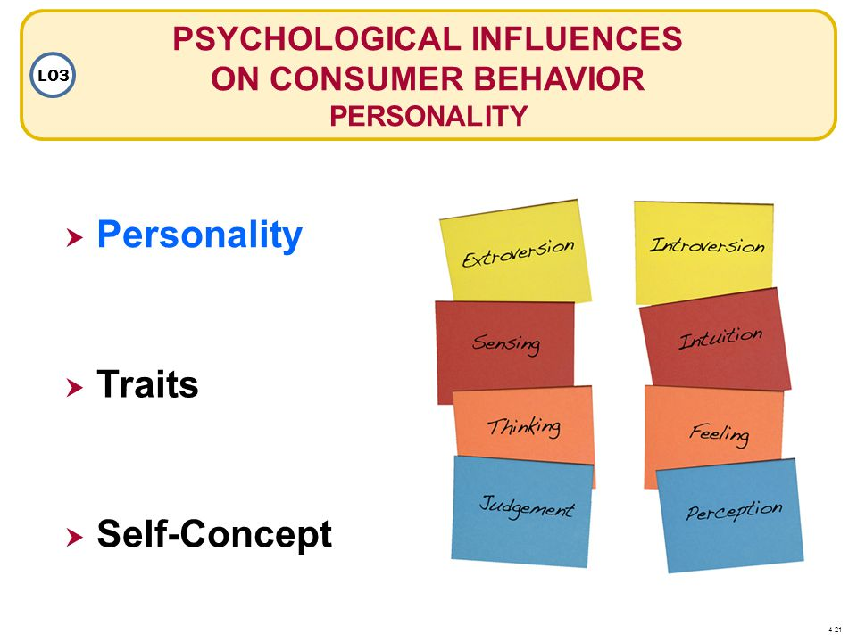 PSYCHOLOGICAL INFLUENCES ON CONSUMER BEHAVIOR PERSONALITY LO3  Personality Personality  Traits  Self-Concept 4-21