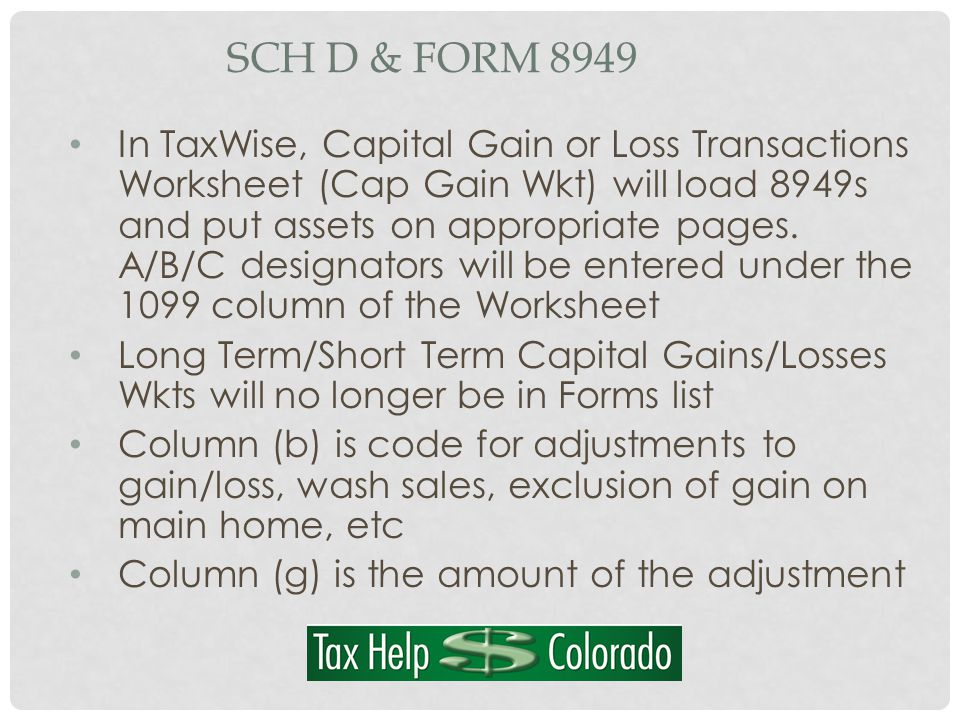 SCH D & FORM 8949 In TaxWise, Capital Gain or Loss Transactions Worksheet (Cap Gain Wkt) will load 8949s and put assets on appropriate pages.